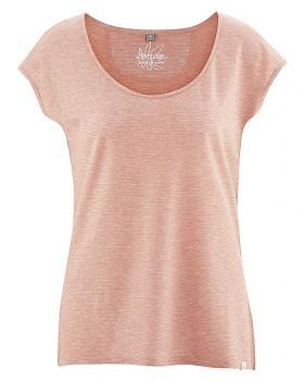 SALLY dámské triko s krátkým rukávem z konopí a biobavlny - lososová melange