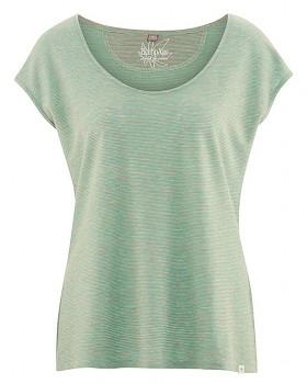 SALLY dámské triko s krátkým rukávem z konopí a biobavlny - lososová/nefritová melange