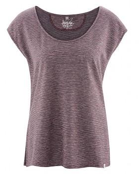 SALLY dámské triko s krátkým rukávem z konopí a biobavlny - wintersky/tomato melange