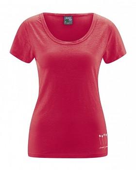 HARIET dámské triko s krátkými rukávy ze 100% konopí - červená chilli