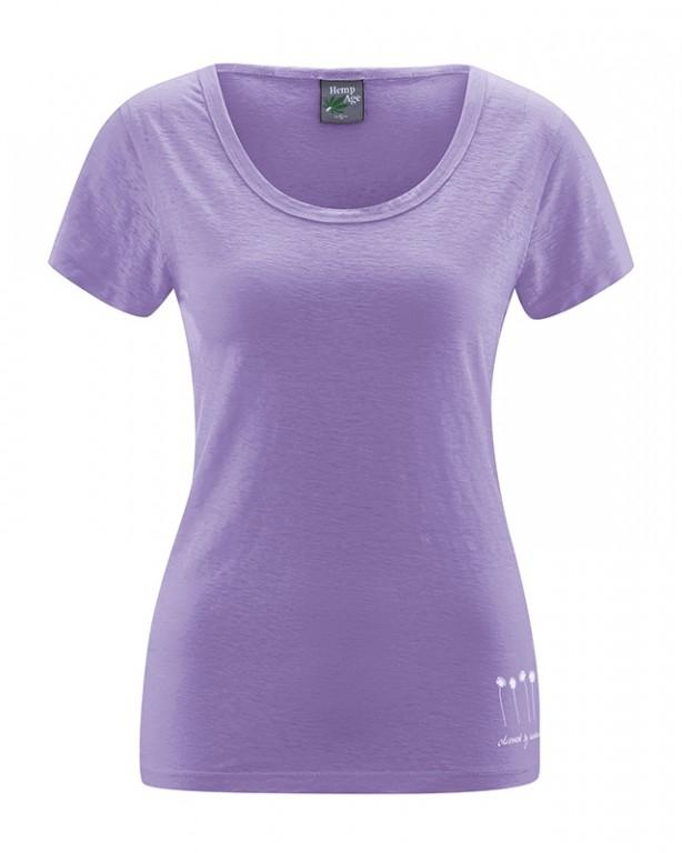 370b812cac HARIET dámské triko s krátkými rukávy ze 100% konopí - fialová lila ...