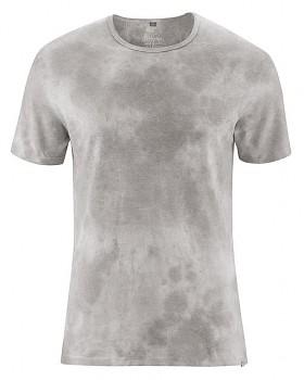 VIOREL pánské batikované tričko s krátkými rukávy z biobavlny a konopí -  šedohnědá mud