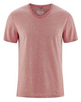 URS pánské tričko s krátkými rukávy z biobavlny a konopí - červená tomato melange