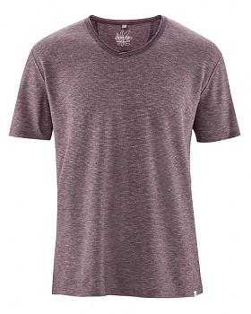 URS pánské tričko s krátkými rukávy z biobavlny a konopí - wintersky/tomato melange