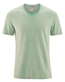 URS pánské tričko s krátkými rukávy z biobavlny a konopí - nefritová/losos melange