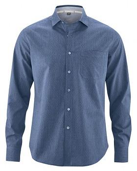 TERENCE pánská košile z biobavlny a konopí - modrá ink