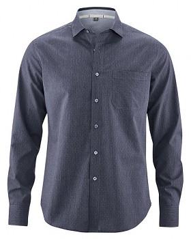 TERENCE pánská košile z biobavlny a konopí - modrá wintersky