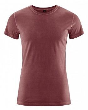 BRISCO pánské tričko z biobavlny a konopí - červenohnědá chestnut