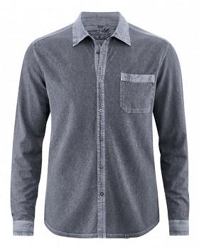 ROBERT pánská úpletová košile z konopí a biobavlny - šedá grafitová