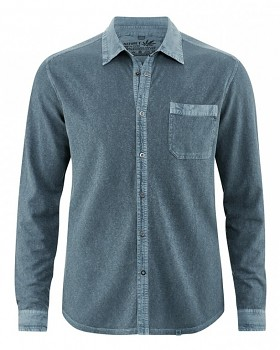 ROBERT pánská úpletová košile z konopí a biobavlny - modrá deep