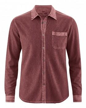 ROBERT pánská úpletová košile z konopí a biobavlny - červenohnědá chestnut