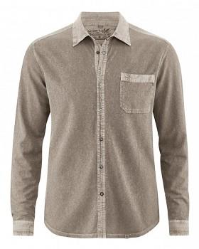 ROBERT pánská úpletová košile z konopí a biobavlny - hnědá oak