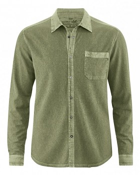 ROBERT pánská úpletová košile z konopí a biobavlny - zelená laurel