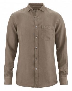 EMPEROR pánská košile ze 100% konopí - hnědá oak