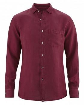 EMPEROR pánská košile ze 100% konopí - červenohnědá chestnut