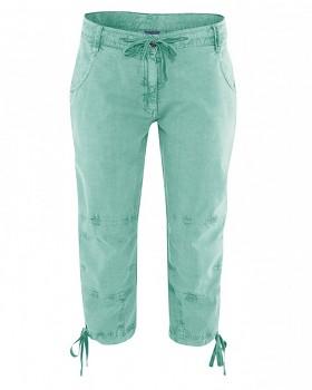 RONJA 7/8 capri kalhoty z konopí a biobavlny - zelená nefritová