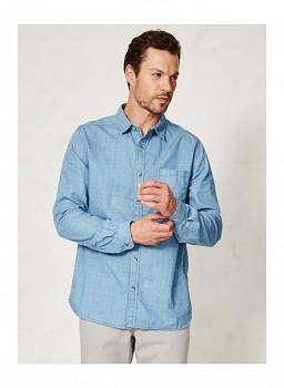 SIGMUND pánská košile s dlouhými rukávy z konopí a biobavlny - světle modrý vzor