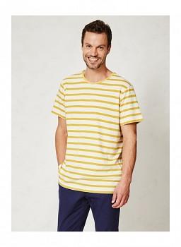 LAURIS pánské pruhované tričko s krátkými rukávy z konopí a biobavlny - žluté pruhy