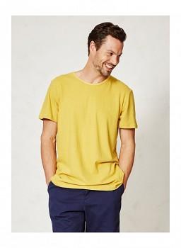 JIMMY pánské tričko s krátkým rukávem z konopí a biobavlny - žlutá mustard