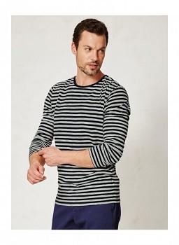 DORAN pánské pruhované triko s dlouhými rukávy ze 100% biobavlny - šedá marle/modrá navy