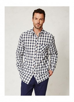 HUCKLE pánská košile s dlouhými rukávy z konopí a biobavlny - tmavě modrá kostka