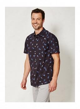 MANU pánská košile s krátkými rukávy ze 100% biobavlny - modrý potisk