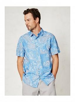 YOUSSEF pánská košile s krátkými rukávy ze 100% biobavlny - světle modrá parsley