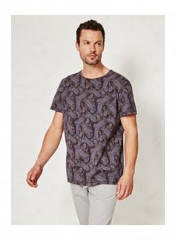 CHADI pánské tričko s krátkými rukávy ze 100% biobavlny - tmavě modrá paisley