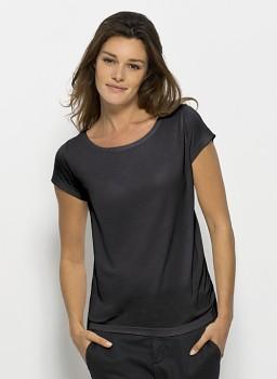 STELLA GLOWS MODAL Dámské tričko s krátkými rukávy ze 100% modalu - tmavě šedá limo