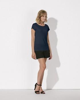 STELLA GLOWS MODAL Dámské tričko s krátkými rukávy ze 100% modalu - modrá french navy