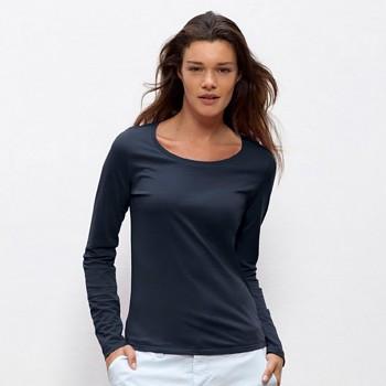 STELLA JOKES Dámské tričko s dlouhými rukávy ze 100% biobavlny - tmavě modrá navy