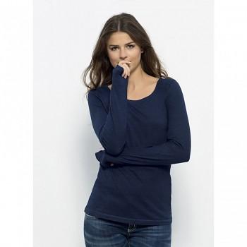 STELLA JOKES DENIM Dámské tričko s dlouhými rukávy ze 100% biobavlny - modrá denim