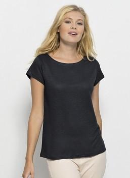 STELLA GLOWS LINEN Dámské tričko s krátkými rukávy ze 100% lnu - tmavě šedá limo