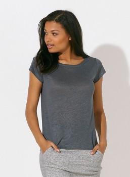 STELLA GLOWS LINEN Dámské tričko s krátkými rukávy ze 100% lnu - šedá