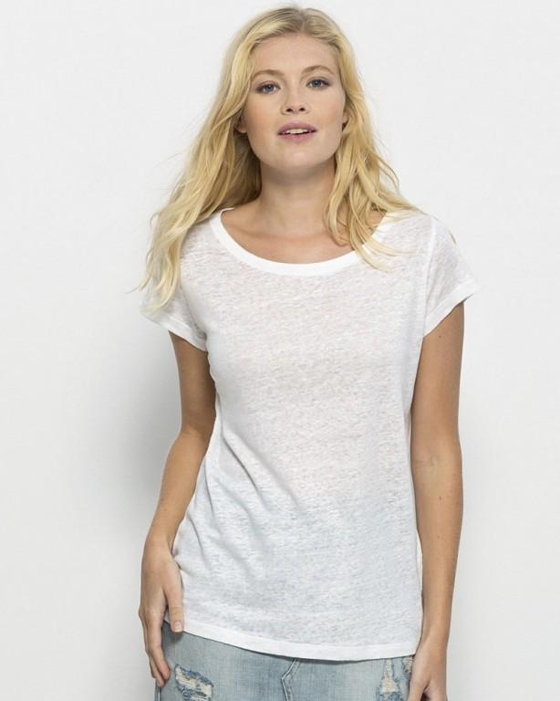 STELLA GLOWS LINEN Dámské tričko s krátkými rukávy ze 100% lnu - bílá 8c4fe52faf