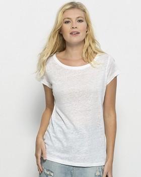 STELLA GLOWS LINEN Dámské tričko s krátkými rukávy ze 100% lnu - bílá