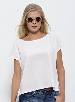 STELLA FLIES Dámské tričko s lodičkovým výstřihem ze 100% biobavlny - bílá