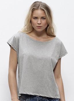 227ae66f6 STELLA FLIES Dámské tričko s lodičkovým výstřihem ze 100% biobavlny -  světle šedá heather