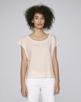 STELLA FLIES Dámské tričko s lodičkovým výstřihem ze 100% biobavlny - růžová ecru neppy mandarine