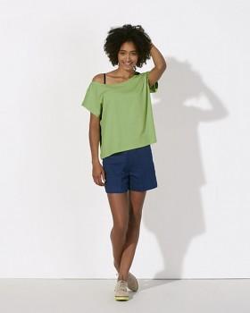 STELLA FLIES Dámské tričko s lodičkovým výstřihem ze 100% biobavlny - zelená paradise