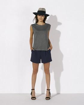 STELLA SPARKLES Dámské tričko s lurexem ze 100% lnu - světle šedá