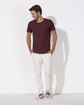 STANLEY LEADS Pánské tričko s krátkým rukávem ze 100% biobavlny - fialová burgundy