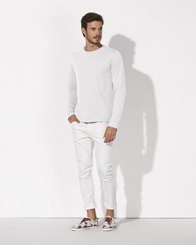 STANLEY SHUFFLES Pánské tričko s dlouhými rukávy ze 100% biobavlny - bílá