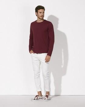 STANLEY SHUFFLES Pánské triko s dlouhými rukávy ze 100% biobavlny - tmavě fialová burgundy
