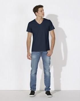 STANLEY RELAXES Pánské tričko s výstřihem do V a krátkým rukávem ze 100% biobavlny - tmavě modrá navy