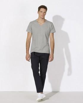 STANLEY RELAXES Pánské tričko s výstřihem do V a krátkým rukávem ze 100% biobavlny - světle šedá melange