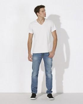 STANLEY RELAXES Pánské tričko s výstřihem do V a krátkým rukávem ze 100% biobavlny - bílá