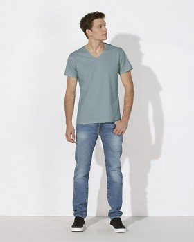 STANLEY RELAXES Pánské tričko s výstřihem do V a krátkým rukávem ze 100% biobavlny - světle modrá citadel