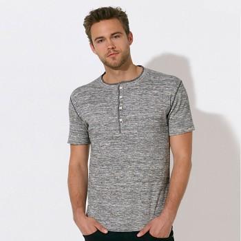 STANLEY FLAMES Pánské polo tričko s krátkým rukávem ze 100% biobavlny - šedá melange