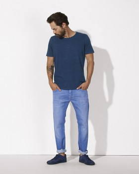 STANLEY ENJOYS DENIM Pánské tričko s krátkým rukávem ze 100% biobavlny - modrá mid washed